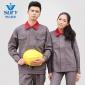 厂家直销工作服 优质纯棉深灰色吸湿排汗纱卡防静电工装服可定制